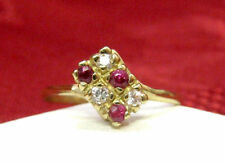 10K YELLOW GOLD CLEAR AND PINK GEMSTONES SMALL RING SIZE 6.75