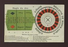France Monte-Carlo Gambling Roulette card lay out payments etc c1900/10s? card