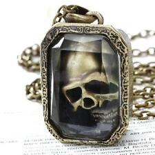 Cool Mens MOVAABLE Ghost SKULL Skeleton Locket Pendant Xmas Gift Chain Necklace