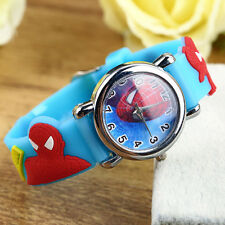 Fashion Spider Cartoon Child Boy Kid Analog Quartz Wrist Watch Rubber Leather