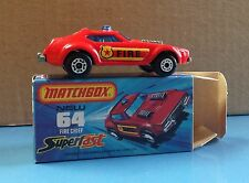 Vintage Matchbox Superfast #64 Fire Chief MIB