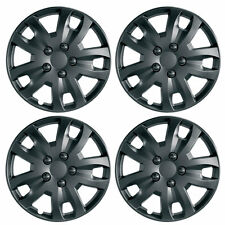 "Jet 15"" Matt Black Car Wheel Trims Hub Caps Plastic Covers Set of 4 Universal"