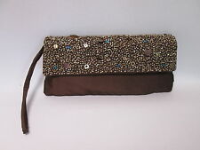 Ladies Womens Chocolate Brown Beaded Sequin Evening Dinner Clutch Bag Purse #2F3