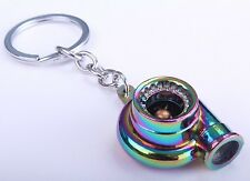 Turbo Charger Boost Spinning Fan Metal Anodized Key Chain Keyring Neo Chrome