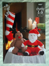 "King Cole Dk Chunky Christmas Toy Rudolph Santa  Knitting Pattern 12"" - 16"" 9007"