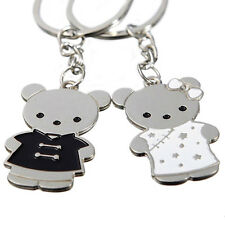 Unique Cute 1 Pair Bear Key Ring Chain Keychain Keyfob Couple Lover Keyring