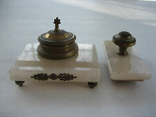 Vintage Antique White Marble and Brass Inkwell with Matching Rocking Blotter