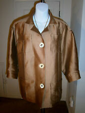 Oscar de la Renta Bronze Brown Cotton/Silk 3/4 Puff Sleeve Jacket/Blazer Sz 12