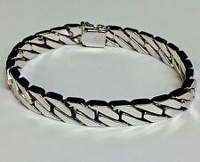"""14kt solid WHITE gold Handmade Curb Link Mens Bracelet 8.5"""" 48 Grams 8 MM"""