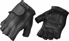 Motorcycle Biker Men's Premium Cowhide Leather Fingerless Gel Palms Gloves XL