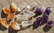 TINY POINTS - 5 CITRINE - 5 QUARTZ CRYSTAL - 5 AMETHYST 12mm - 16mm BAG ID CARD
