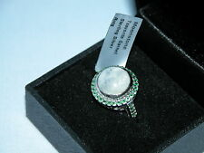 LOT 150 MOONSTONE + TSAVORITE GARNET STERLING SILVER RING SIZE N - RRP £231