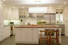 """82"""" White Kitchen Island with solid wood top HOU-174, Custom features welcome"""