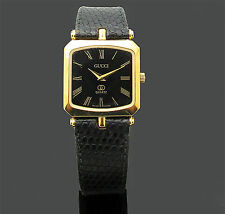 Vintage Gucci Women's 2000 I Gold-Black Tone Leather Strap Watch