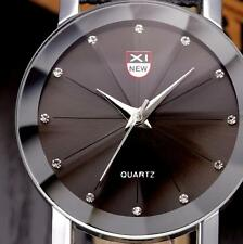 Luxury Men Stainless Steel Quartz Military Sport Leather Band Dial Wrist Watch