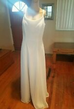 B2 wedding dress size 10 ivory sleeveles floor length low v back small cowl neck