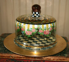 Mackenzie Childs 2pc Awning Stripe Handpainted Wood Cake Plate and Glass Dome