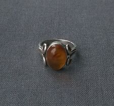 Excellent quality Solid Sterling silver old heavy Baltic Amber oval ring N 1/2
