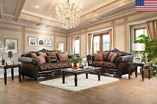 Formal Traditional Brown Chenille Fabric Sofa Loveseat Pillows Royal Living USA