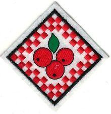 """2 3/4"""" inch Diamond Shaped Red White Checkered Cherry Fruit Embroidery Patch"""