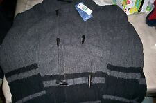 "NWT! $228 NAUTICA ""COASTAL ISLES"" WOOL CARDIGAN SWEATER-GRAY-LARGE GORGEOUS!"