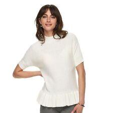 NWT $48 LARGE ELLE Cream Ivory Bottom Ruffle Mock Turtleneck Short Slv Sweater