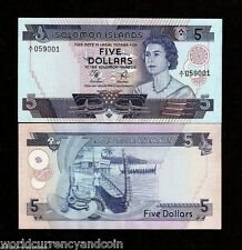 SOLOMON ISLANDS $5 P6A 1977 QUEEN RUNNING # PAIR BOAT A/1 PFX.UNC CURRENCY NOTES