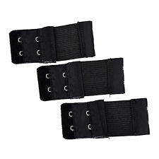 3pcs Woman 2 x 2 Hook and Eye Tape Elastic Extension Bra Extender Black New
