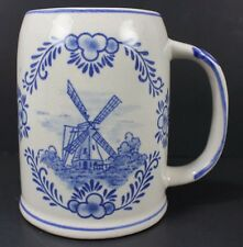 Vintage Blue Delfts Mug Stein Holland Netherlands Windmill Sailing Ship EH 9832