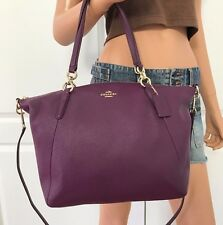 NWT COACH PURPLE PEBBLED LEATHER SHOULDER SATCHEL TOTE CROSSBODY HOBO BAG PURSE