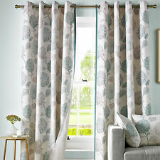 Avril Berry Floral Leaf Eyelet Fully Lined Ring Top Ready Made Curtains