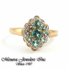 925 Sterling Silver/ Gold Plated Ring w/ Blue Mystic Topaz & Diamonds Sz. 7 2.6g