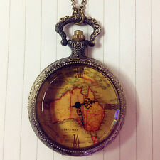 Christmas Gift Retro Antique Chain AU Map Necklace Pendant Pocket Watch Ornate