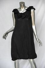 VALENTINO Black Mohair-Knit LBD Bow-Draped-Neckline + Bubble Hem Dress NEW L