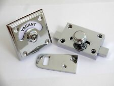 CHROME VACANT ENGAGED TOILET BATHROOM LOCK BOLT INDICATOR DOOR HANDLES KNOBS