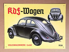 VW Volkswagen Beetle KDF-Wagen - Tin Metal Wall Sign