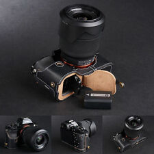 Genuine real Leather Half Camera Case bag cover for Sony A7 Sony A7R A7S Black