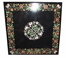 Black Marble Dining Table Parrot Marquetry Inlay Dinning Room Decor Arts H2053