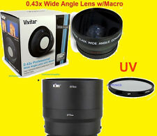 0.43x WIDE ANGLE LENS 72mm+UV FILTER + ADAPTER for CAMERA SONY DSC-HX300  72