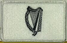 IRISH Flag Patch With VELCRO® Brand Fastener Black & White. White Border #1