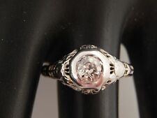Vintage Art Deco Diamond Ring 18K Filigree  .58 ct Old Mine Cut L/I1 Engagement