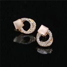 1 Pair Fashion Women Lady Elegant Crystal Rhinestone Ear Stud Gold Earrings