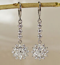 18K White Gold Filled - 1.8'' White Topaz Zircon Flower Cocktail Gems Earrings