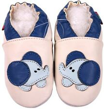 shoeszoo soft sole leather toddler shoes cream baby elephant 3-4y S
