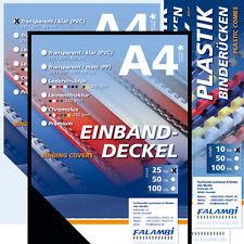 Binderücken 6-14 mm, Einbanddeckel, Transparente - Starterset für Plastikbindung