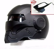 CASCO ELMETTO BLACK IRONMAN MOTORCYCLE HELMET HERO ! ABS AUTOMIC MAN SIZE:M- XL
