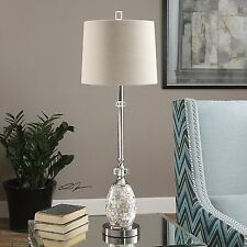 Slim Silver Capiz Shell Table Lamp | Buffet Mother of Pearl Coastal