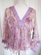 LADIES SILKY  PRINT SUMMER CHIFFON TOP SIZE 16 - 18    by PIERRE CARDIN