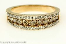1.04 ct Natural Fancy Champagne White Diamond 14K Yellow Gold Ring Band Sz. 4.5