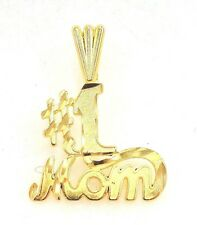 14k Solid Gold Pendant #1 Mom Mother Love Parent Child Gift Free Shipping